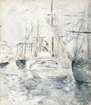 White Boat in the Port, Nice, 1881 (w/c on paper) Postcards, Greetings Cards, Art Prints, Canvas, Framed Pictures, T-shirts & Wall Art by Pierre-Auguste Renoir