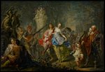 The Pleasures of the Seasons: Spring, c.1730 (oil on copper) Wall Art & Canvas Prints by Dirck Hals