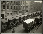 Delivery trucks parked outside the Carolyn Laundry at 111 East 128th Street, East Harlem, New York, 1929 Fine Art Print by Byron Company