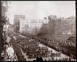 Aerial view of men marching in the Republican Gold Standard Parade on Broadway at City Hall Park, New York, 1898 Fine Art Print by French School