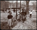 View of children playing on playground equipment at Tompkins Square Park, on Arbor Day, New York, 1904 Fine Art Print by Byron Company