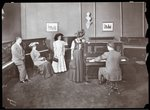 A piano showroom, New York, 1907 Fine Art Print by Hilary Rosen