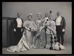 Group portrait of Sydney Dillon Ripley, Mrs. J.T. Burden, Mrs. Wm. Jay, Benjamin Nicol, and Col. Wm. Jay at the James Hazen Hyde Ball, New York, January 31, 1905 Poster Art Print by Byron Company