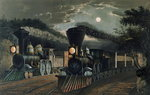The 'Lightning Express' Trains, pub. by Currier and Ives, New York, 1863 Postcards, Greetings Cards, Art Prints, Canvas, Framed Pictures, T-shirts & Wall Art by N. and Ives, J.M. Currier