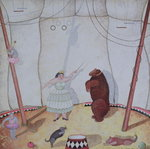 Lady with Dancing Bear, 1980 Poster Art Print by Mary Stuart