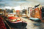 Red House Boat, Amsterdam, 1999 Fine Art Print by Antonia Myatt