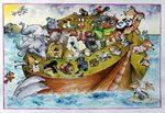 Noah's Crazy Ark, 1999 (mixed media) Wall Art & Canvas Prints by Maylee Christie