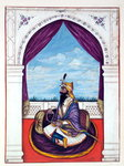Maharajah Karak Singh, from 'The Kingdom of the Punjab, its Rulers and Chiefs, volume I', a volume of 27 watercolour studies by an unidentified Indian artist, c.1840 Fine Art Print by French School