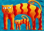 Curved Cats, 2004 (acrylic on paper)