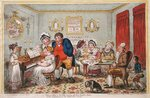 Farmer Giles and his Wife showing off their daughter Betty to their neighbours on her return from school, published by Hannah Humphrey in 1809 Fine Art Print by James Gillray
