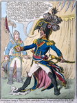 Buonaparte hearing of Nelson's Victory swears by his Sword to Extirpate the English from off the Earth, published by Hannah Humphrey in 1798 Fine Art Print by James Gillray