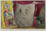 Ci-devant Occupations, or Madame Talian and the Empress Josephine Dancing Naked before Barrass in the Winter of 1797, published by Hannah Humphrey in 1805 Fine Art Print by James Gillray