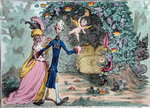 The Nuptial Bower with the Evil-One peeping at the Charms of Eden, published by Hannah Humphrey in 1797 Postcards, Greetings Cards, Art Prints, Canvas, Framed Pictures, T-shirts & Wall Art by James Gillray