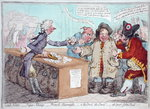 Opening of the Budget, or John Bull giving his breeches to save his Bacon, published by Hannah Humphrey in 1796 Wall Art & Canvas Prints by James Gillray