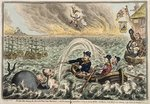 British Tars towing the Danish Fleet into Harbour, or The Broadbottom Leviathan trying to swamp Billy's old Boat, & the little Corsican tottering on the Clouds of Ambition, 1807 Fine Art Print by James Gillray