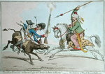 Tirailleur Francais et Chevau Leger de l'Armee du Pacha de Rhodes, or The Evolutions of French Mounted Riflemen, published by Hannah Humphrey in 1799 Fine Art Print by James Gillray