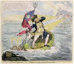 A French Hail Storm, or Neptune losing sight of the Brest Fleet, published by Hannah Humphrey in 1793 Postcards, Greetings Cards, Art Prints, Canvas, Framed Pictures, T-shirts & Wall Art by James Gillray