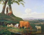 Landscape with cows and sheep Fine Art Print by Niko Pirosmani