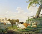 Cows and Shepherd Fine Art Print by Francois Boucher