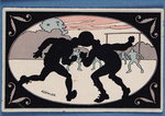 Card depicting a silhouette of two players heading a ball Fine Art Print by P.J. Crook