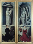 View of The Last Judgement with its panels closed, depicting the donors, Angelo di Jacopo Tani and his wife, Caterina de Tanagli, below the Madonna and Child and St. Michael, 1473 Fine Art Print by Jan van Eyck