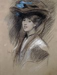 Edwardian lady Fine Art Print by Alfred George Stevens
