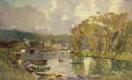 Along the Seine at Meudon, c.1893 Postcards, Greetings Cards, Art Prints, Canvas, Framed Pictures, T-shirts & Wall Art by Claude Monet