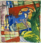 Blue Cow, 1914 Postcards, Greetings Cards, Art Prints, Canvas, Framed Pictures, T-shirts & Wall Art by August Macke