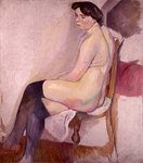 Nude with Black Stockings, c.1906 Wall Art & Canvas Prints by Jules Pascin