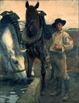 Horses at the Water Trough, 1884 Wall Art & Canvas Prints by John Frederick Herring Snr