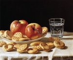 Still life with apples and biscuits, 1862 Wall Art & Canvas Prints by Clive Uptton
