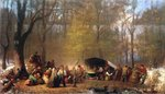 Sugaring Off at the Camp, 1864-66 Fine Art Print by Boris Mikhailovich Kustodiev