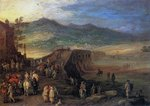 Travellers at the Bridge of Talavera, 1610 Fine Art Print by Jacob Grimmer