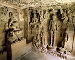 Interior of a Jain cave Wall Art & Canvas Prints by Indian School