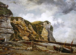 Rocks at low water with West Falaise Fine Art Print by Gustave Courbet