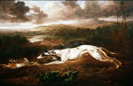 Two greyhounds coursing a hare Fine Art Print by John Frederick Herring Snr