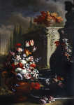 Still life with flowers in ornamental vases Poster Art Print by Gasparo Lopez