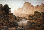 Travellers beside a lake in the Lake District, 1830 Fine Art Print by Edward Wilkins Waite