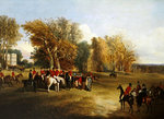 A hunt meet in a parkland with a country house Postcards, Greetings Cards, Art Prints, Canvas, Framed Pictures, T-shirts & Wall Art by Abraham Cooper
