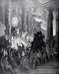 Satan in Council, from Book I of 'Paradise Lost' by John Milton Postcards, Greetings Cards, Art Prints, Canvas, Framed Pictures, T-shirts & Wall Art by Gustave Dore