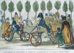 A velocipede race at Jardin du Luxembourg in 1818 after an engraving of the time, engraved by P. Comte Postcards, Greetings Cards, Art Prints, Canvas, Framed Pictures, T-shirts & Wall Art by French School