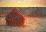 Haystacks at Sunset, Frosty Weather, 1891 Wall Art & Canvas Prints by Claude Monet