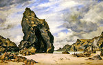 Steeple Rock, Kynance Cove, Lizard, Cornwall, Low Water, 1873 Fine Art Print by Carl Morgenstern