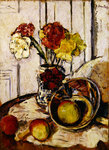 Still Life of Apples and Carnations Poster Art Print by Samuel John Peploe