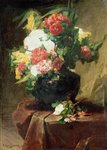 Peonies in a Vase on a Draped Table. 1895 Wall Art & Canvas Prints by Balthasar van der Ast