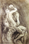 A Study of Rodin's Kiss in his Studio Fine Art Print by Alfred George Stevens