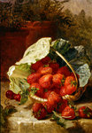 Strawberries in a cabbage leaf, 1891 Fine Art Print by Claire Spencer