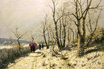 Snowy winter's day with figures on the path Wall Art & Canvas Prints by John Atkinson Grimshaw