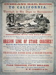 Advertisment for the Oregon Line of Stage Coaches, 1866 Fine Art Print by American School