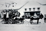 Fully-loaded Stagecoach of the Old West, c.1885 Fine Art Print by American School